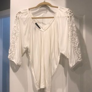 White studded and crochet top, size small